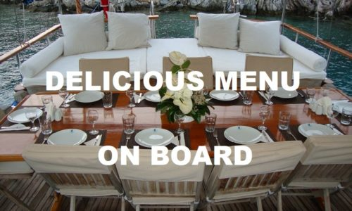 Menu on gulet cruise