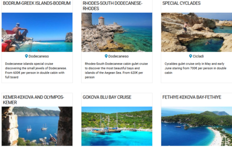 LIST OF OFFERS FOR CABIN GULET CRUISES